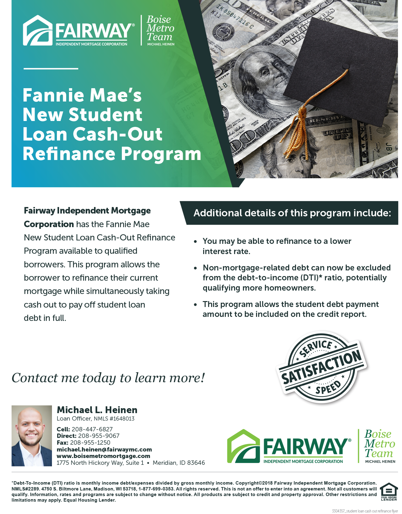 student loan cash out refinance flyer1300